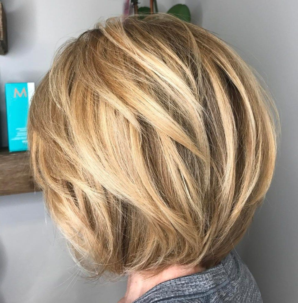 60 Classy Short Haircuts And Hairstyles For Thick Hair In 2018 Inside Caramel Blonde Rounded Layered Bob Hairstyles (View 18 of 20)