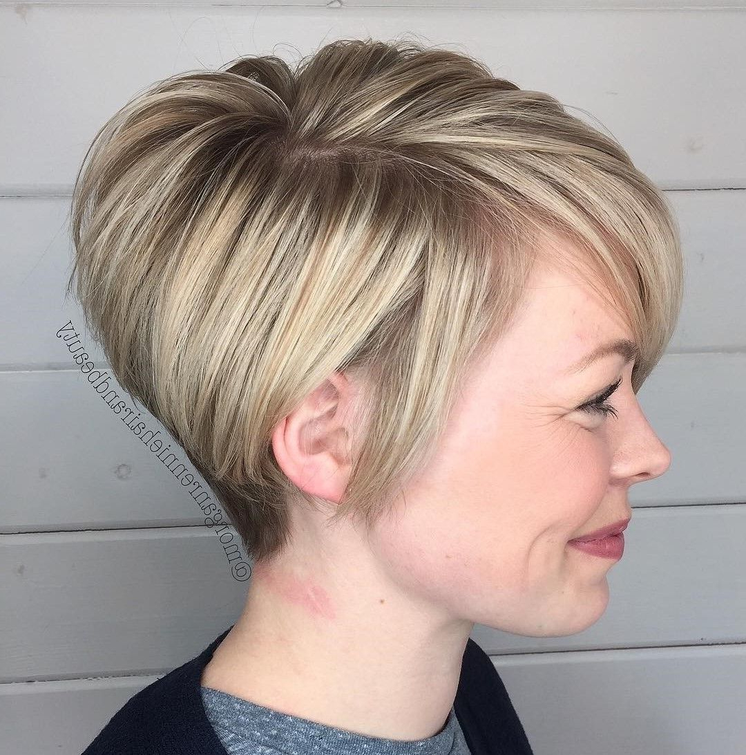 60 Gorgeous Long Pixie Hairstyles In 2018 | Short Hair | Pinterest Pertaining To Blonde Bob Hairstyles With Tapered Side (View 4 of 20)