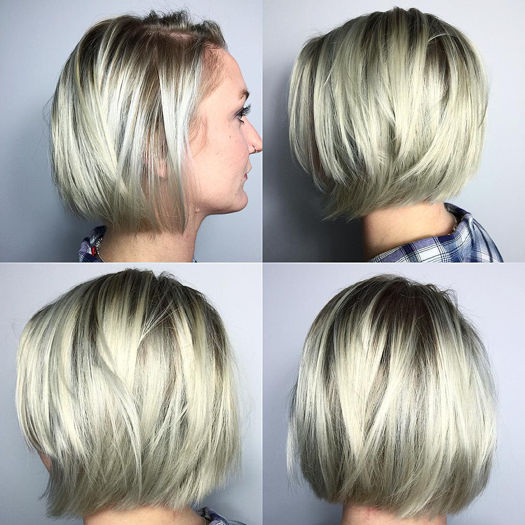 60 Hottest Bob Hairstyles For Everyone! (short Bobs, Mobs, Lobs In Stacked Sleek White Blonde Bob Haircuts (View 7 of 20)