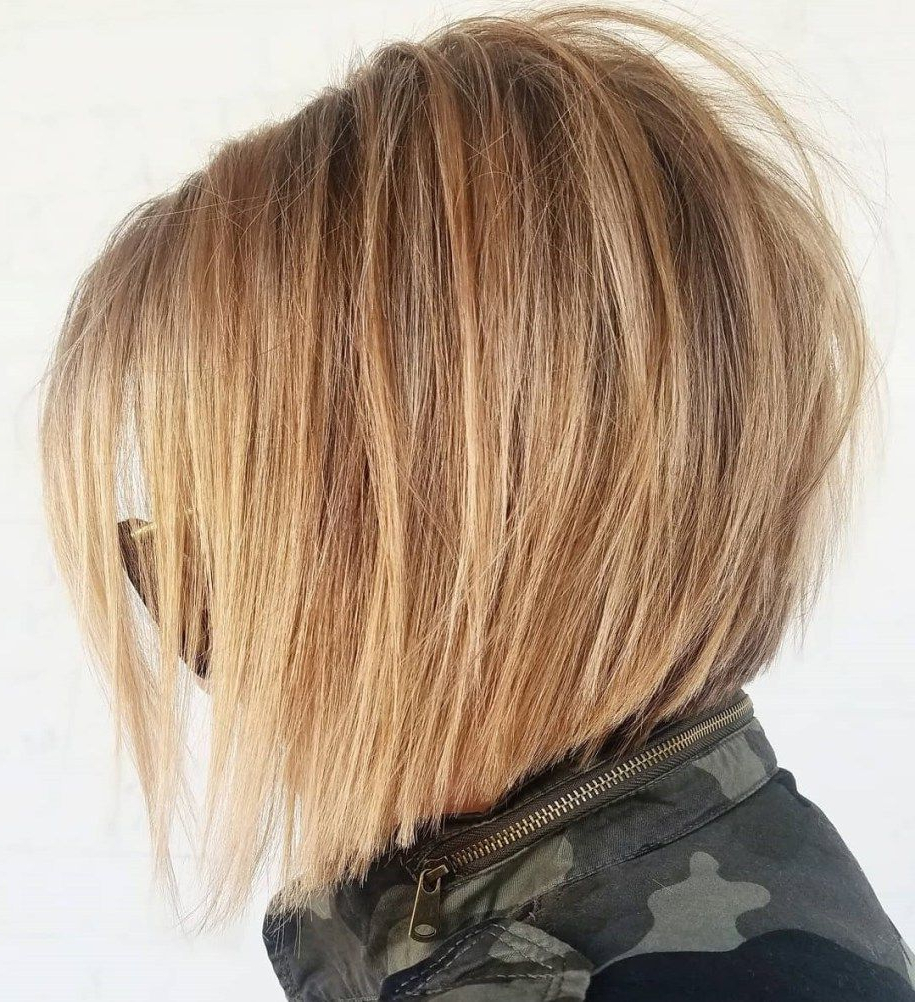 60 Layered Bob Styles: Modern Haircuts With Layers For Any Occasion Throughout Perfectly Angled Caramel Bob Haircuts (View 13 of 20)
