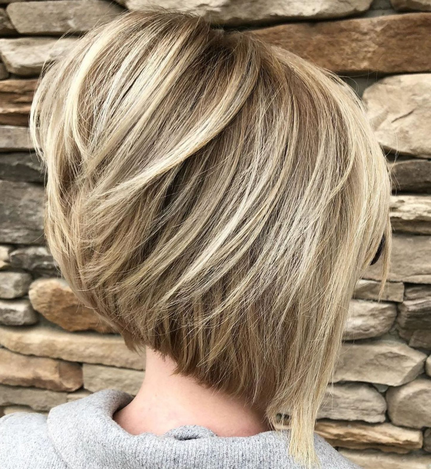 60 Layered Bob Styles: Modern Haircuts With Layers For Any Occasion With Stacked Blonde Balayage Bob Hairstyles (View 9 of 20)