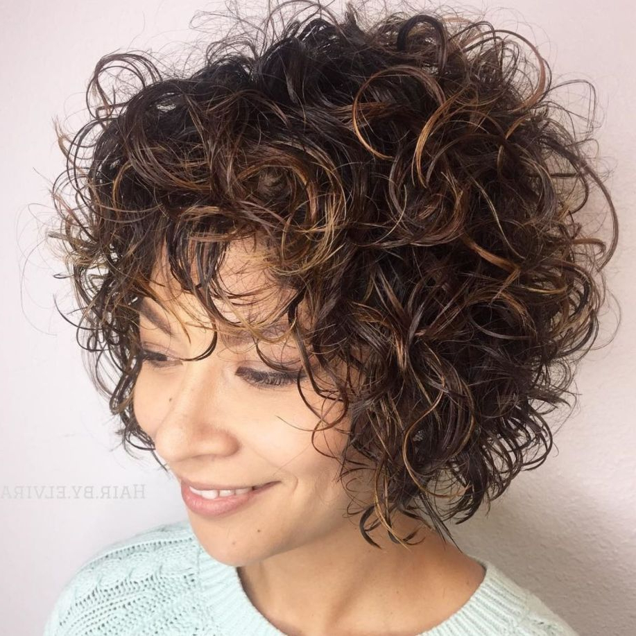 60 Most Delightful Short Wavy Hairstyles In 2018 | Curly Hair With Regard To Black Wet Curly Bob Hairstyles With Subtle Highlights (View 2 of 20)