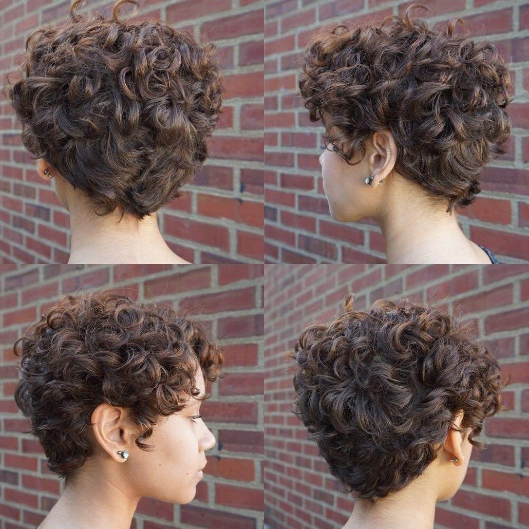 60 Most Delightful Short Wavy Hairstyles In 2018 | Fachon Pa La Ruca Throughout Curly Pixie Hairstyles With V Cut Nape (View 14 of 20)