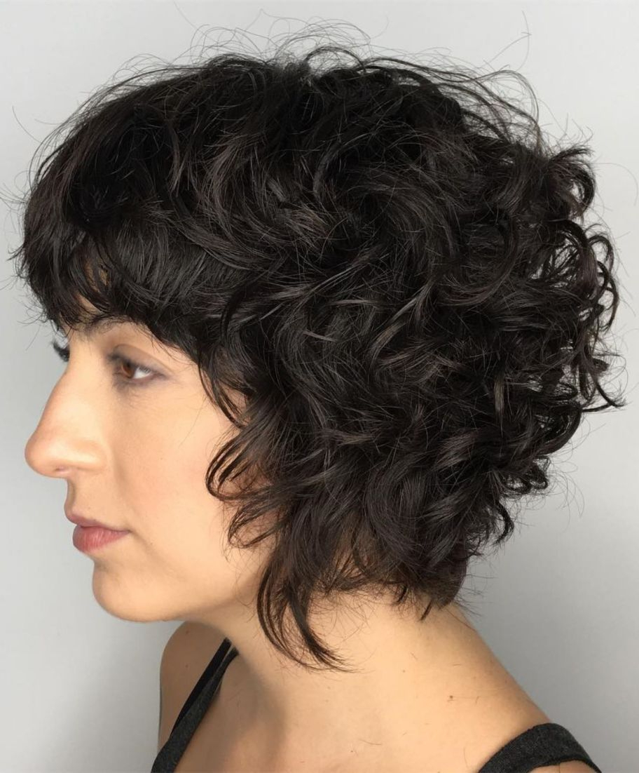 60 Most Delightful Short Wavy Hairstyles In 2018 | Hair | Pinterest For Black Wet Curly Bob Hairstyles With Subtle Highlights (View 7 of 20)