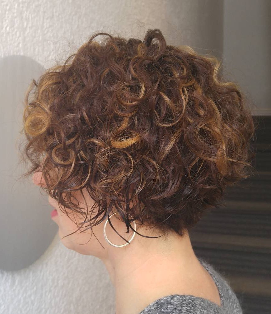 60 Most Delightful Short Wavy Hairstyles In Angled Brunette Bob Hairstyles With Messy Curls (View 11 of 20)