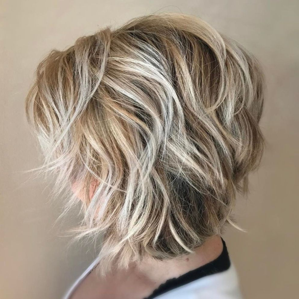 70 Cute And Easy To Style Short Layered Hairstyles In 2018 For Choppy Wispy Blonde Balayage Bob Hairstyles (View 13 of 20)
