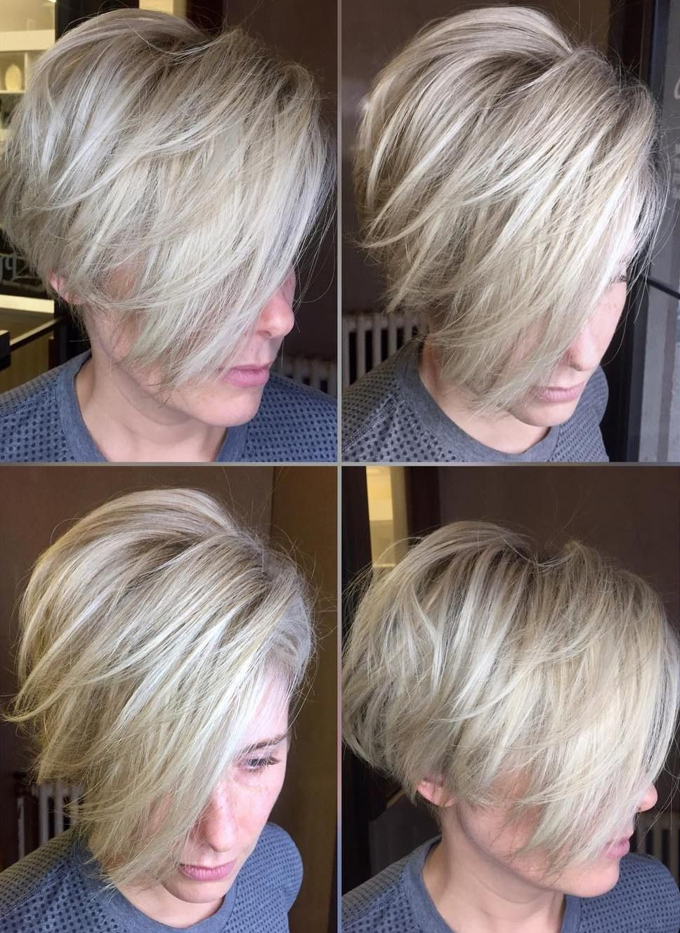 70 Cute And Easy To Style Short Layered Hairstyles In 2018 | Hair Throughout Side Parted White Blonde Pixie Bob Haircuts (View 7 of 20)