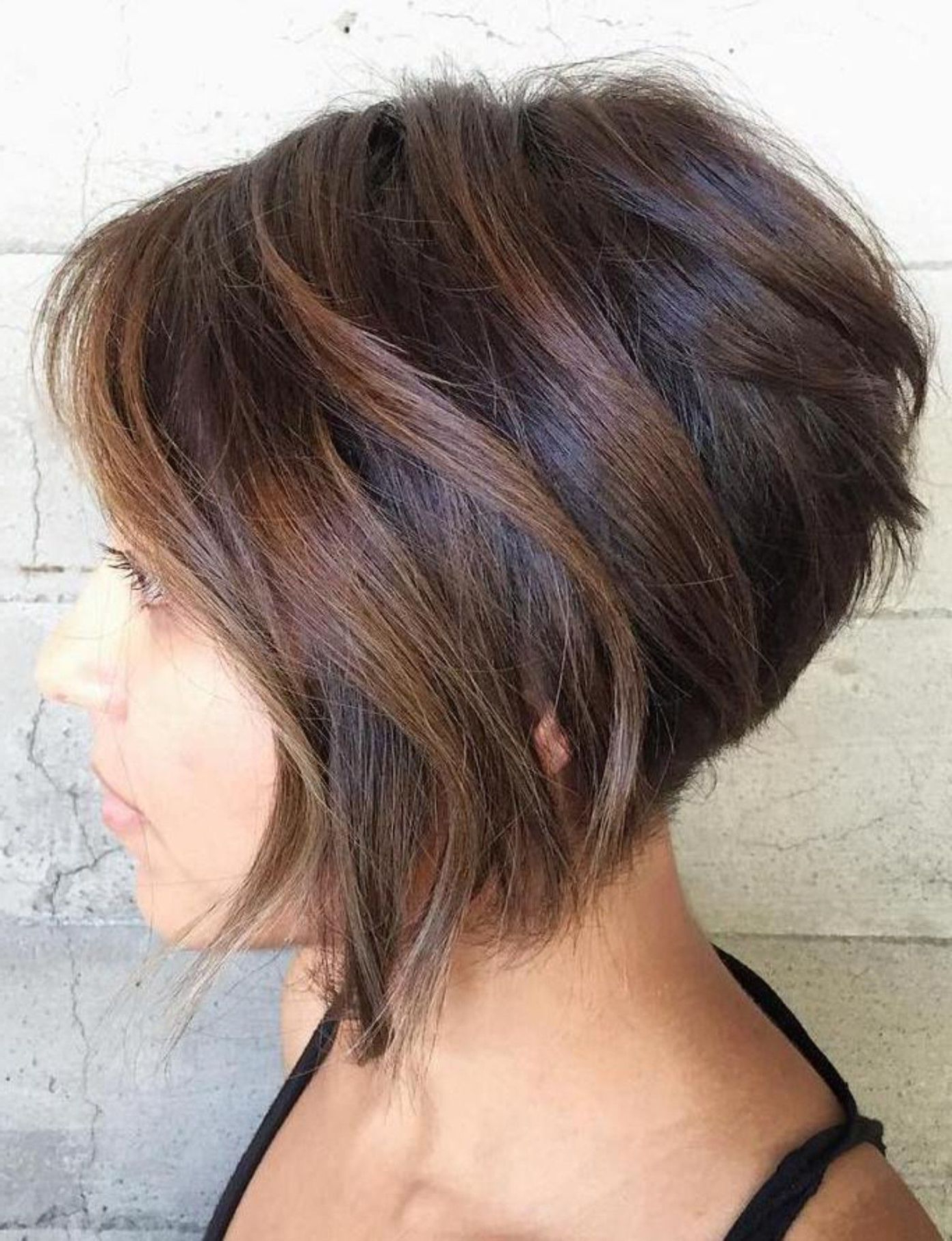70 Cute And Easy To Style Short Layered Hairstyles In 2018 Regarding Stacked Black Bobhairstyles With Cherry Balayage (View 6 of 20)