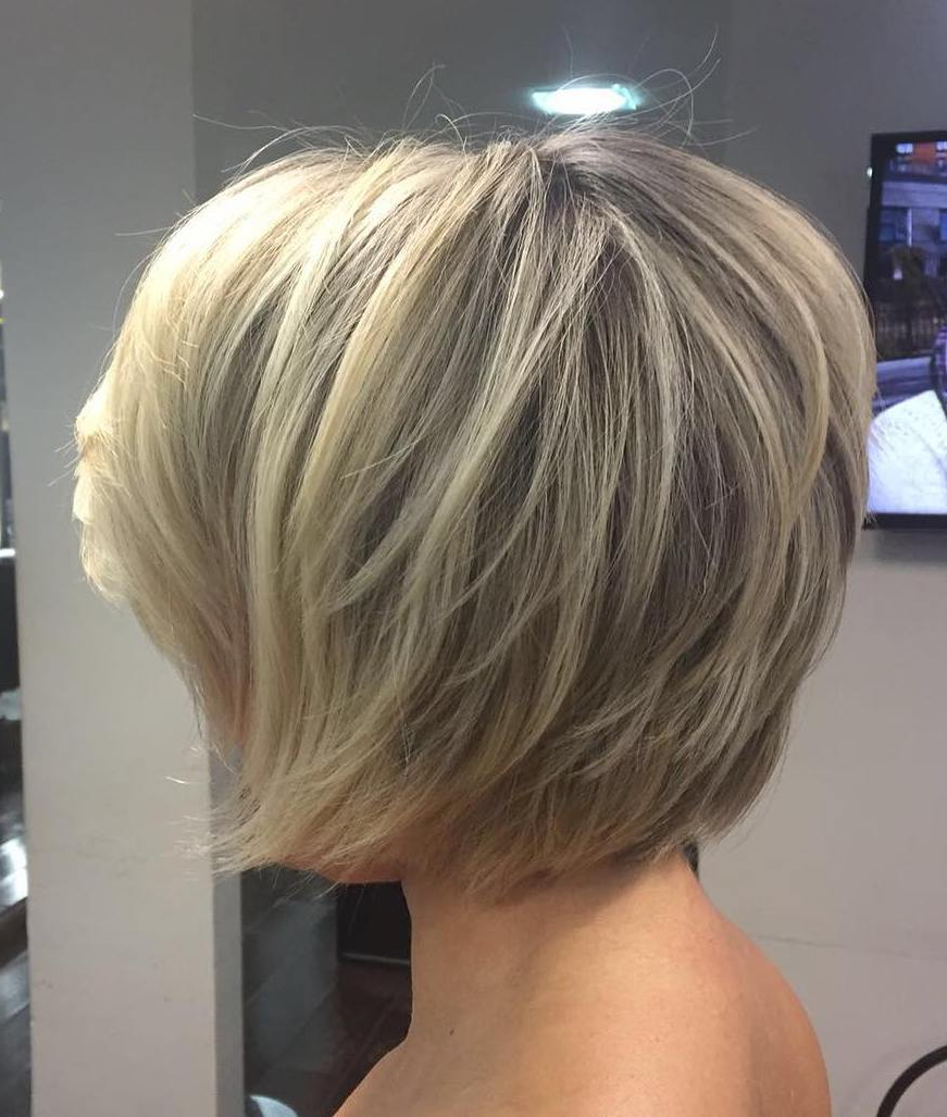 70 Cute And Easy To Style Short Layered Hairstyles Throughout Stacked Sleek White Blonde Bob Haircuts (View 8 of 20)