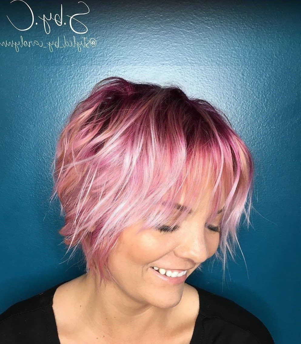 70 Devastatingly Cool Haircuts For Thin Hair | Pastel Pink, Pastels Pertaining To Pastel Pink Textured Pixie Hairstyles (View 11 of 20)