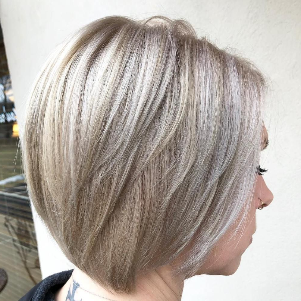 Photo Gallery Of Nape Length Wavy Ash Brown Bob Hairstyles Viewing