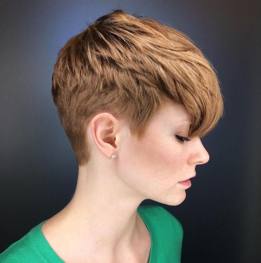 70 Short Shaggy, Spiky, Edgy Pixie Cuts And Hairstyles In 2018 For Tapered Brown Pixie Hairstyles With Ginger Curls (Gallery 7 of 20)