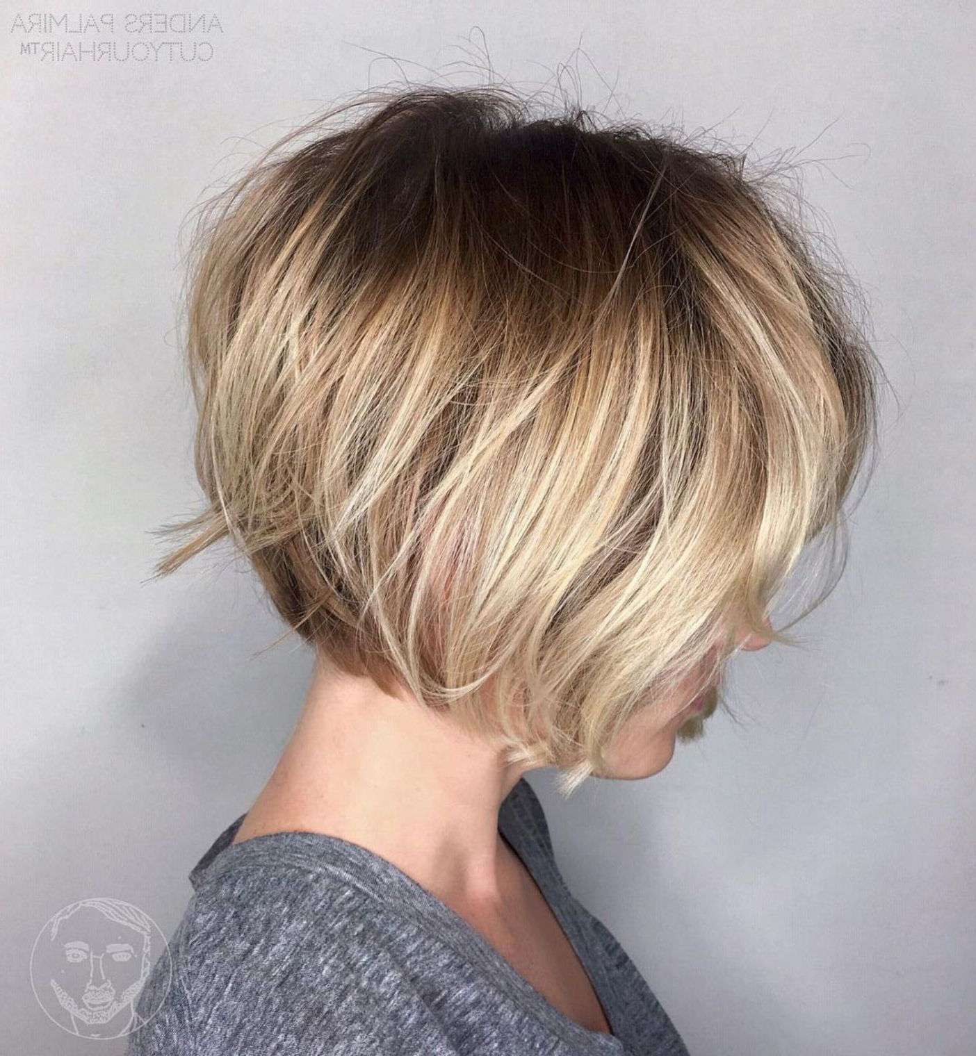 70 Winning Looks With Bob Haircuts For Fine Hair In 2018 | Hair In Stacked Blonde Balayage Pixie Hairstyles For Brunettes (View 15 of 20)