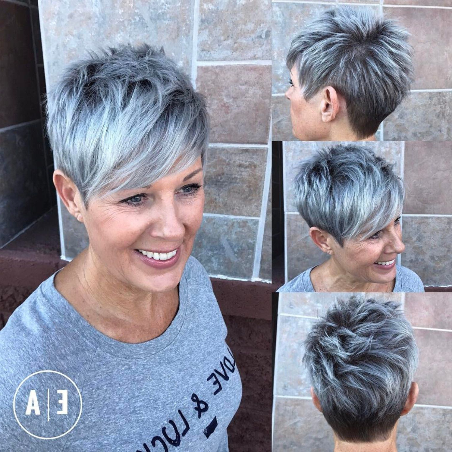 90 Classy And Simple Short Hairstyles For Women Over 50 | Gray Within Bronde Balayage Pixie Haircuts With V Cut Nape (View 8 of 20)
