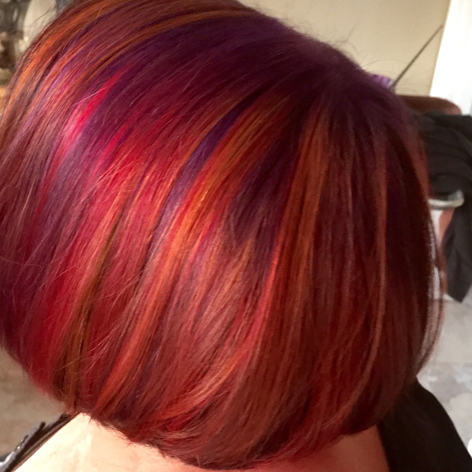 A Delicious Blend Of Purple, Red, Orange, And Blue | Hairstyles Intended For Burgundy And Tangerine Piecey Bob Hairstyles (View 11 of 20)