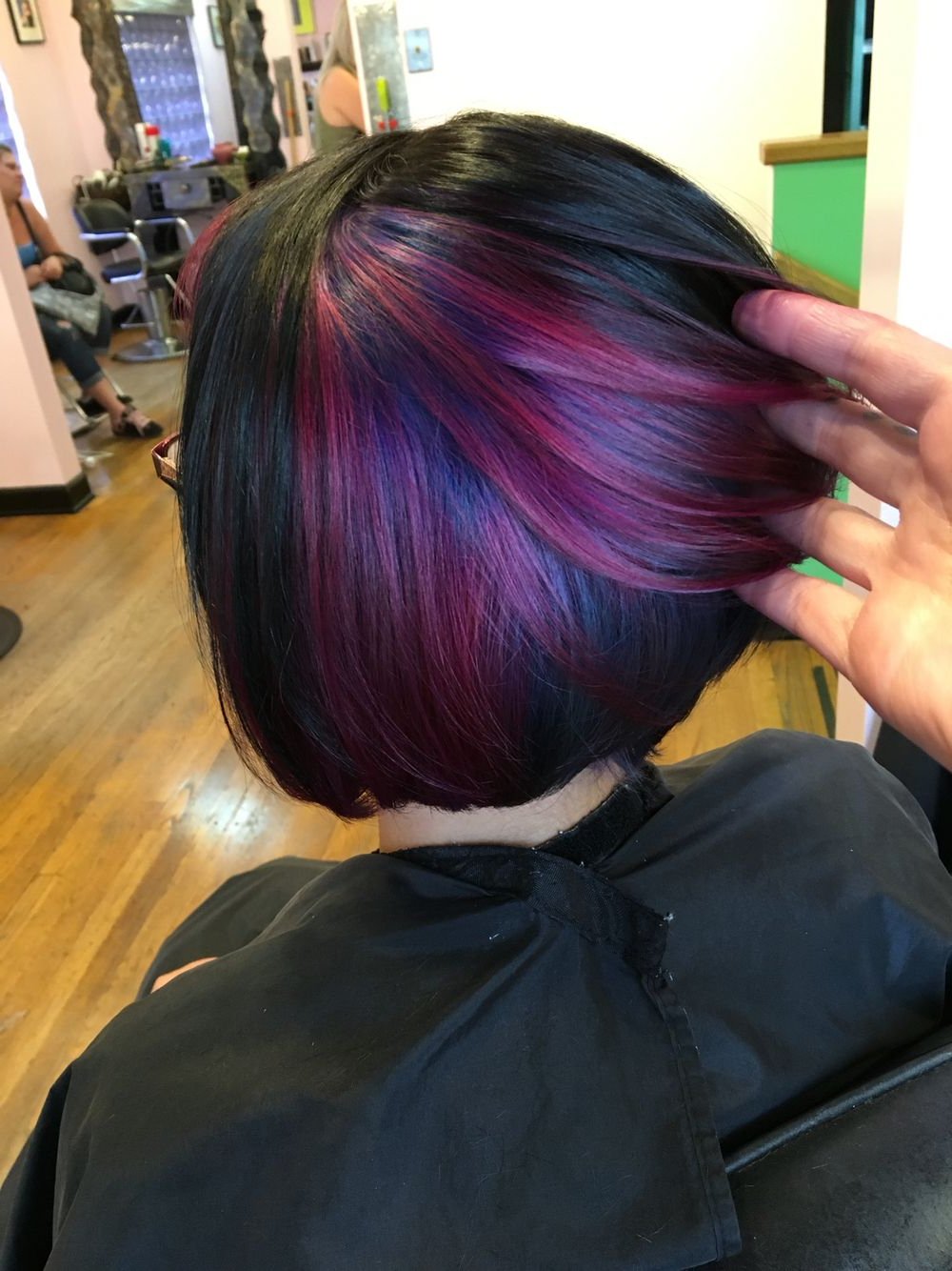 Aaashleee : Instagram. Peekaboo Color Purple Hair Pravana Angled Bob With Extreme Angled Bob Haircuts With Pink Peek A Boos (Gallery 7 of 20)