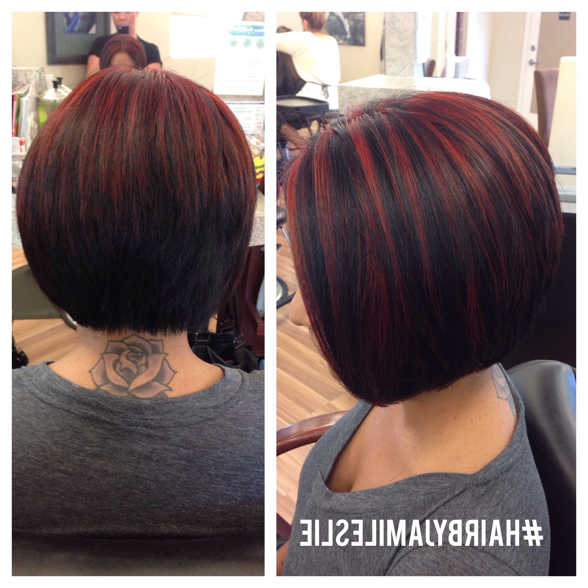 An Adorable Stacked A Line Bob With Red Highlights! Hairjami With Stacked Black Bobhairstyles  With Cherry Balayage (Gallery 8 of 20)