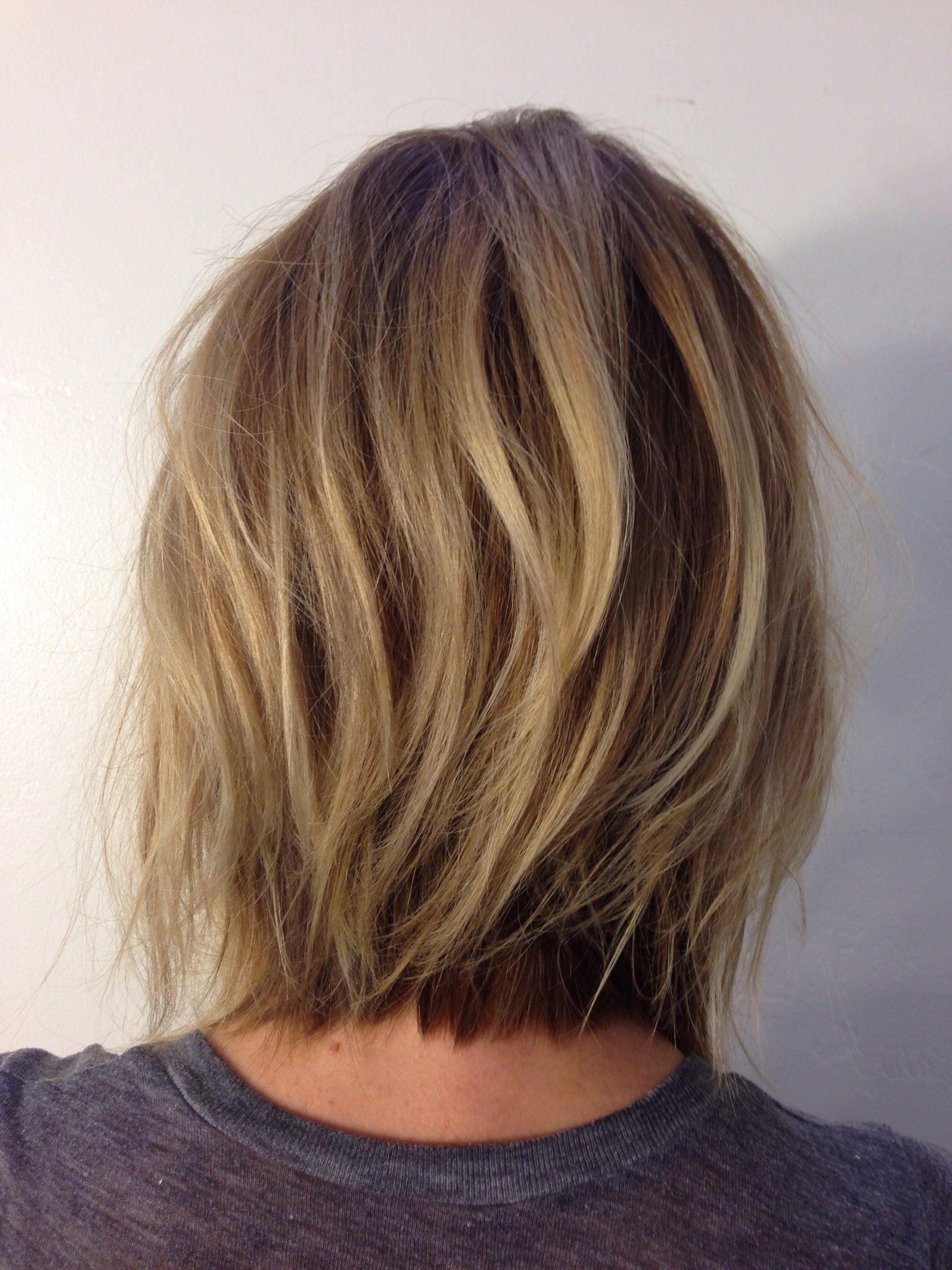 Andreamillerhair  Neck Length Layers … | Hair Cut In 2018… Within Nape Length Brown Bob Hairstyles With Messy Curls (View 18 of 20)