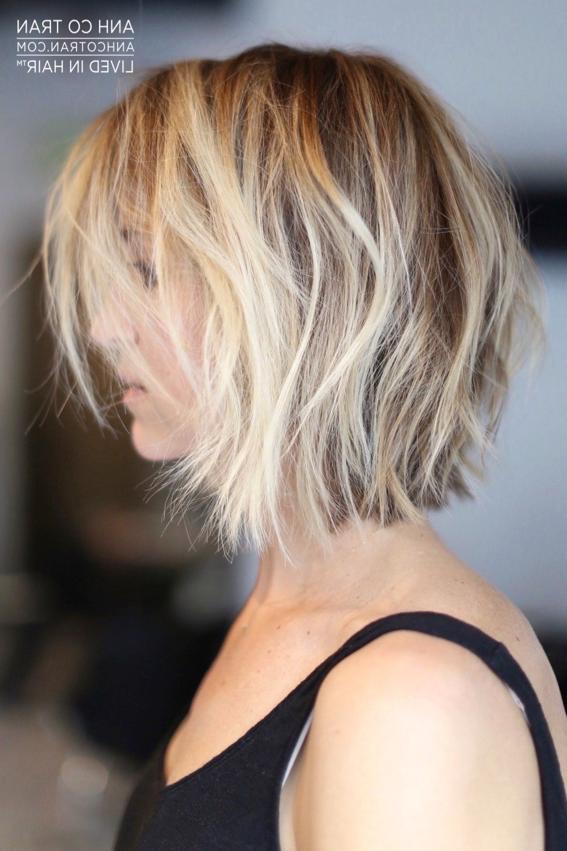 Anh Co Tran | Hair In 2018 | Pinterest | Hair, Hair Styles And Short Within Messy Jaw Length Blonde Balayage Bob Haircuts (View 14 of 20)