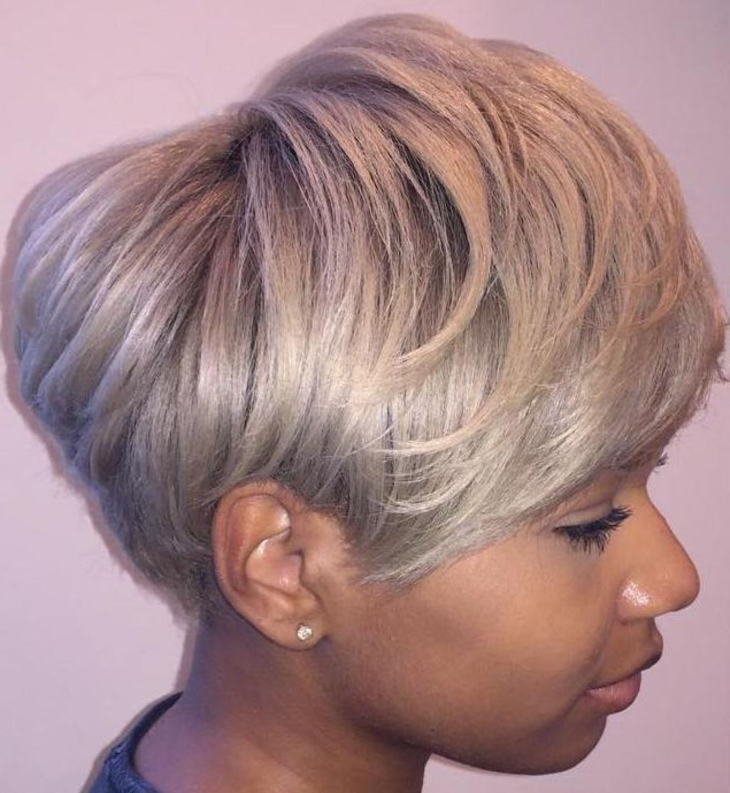 Ash Blonde Pixie Bob For Black Women | Hairstyles | Pinterest Pertaining To Black And Ash Blonde Pixie Bob Hairstyles (Gallery 6 of 20)