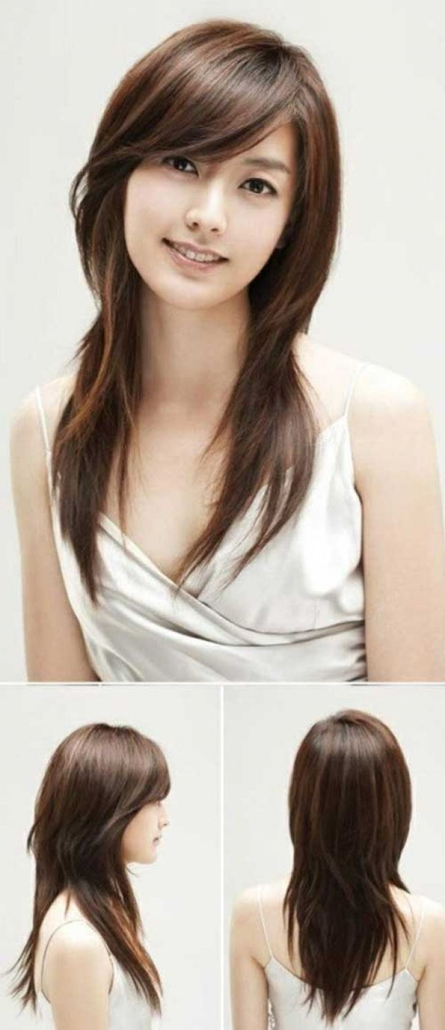 Asian Straight Layered Hair With Side Bangs Asian Side Swept Bangs Pertaining To Layered Bob Hairstyles With Swoopy Side Bangs (View 6 of 20)