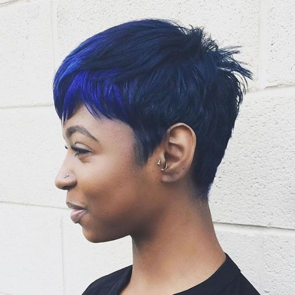 Balayage Black To Blue Short Haircuts For Black Women | Short Hair In Sexy Pastel Pixie Hairstyles (View 15 of 20)