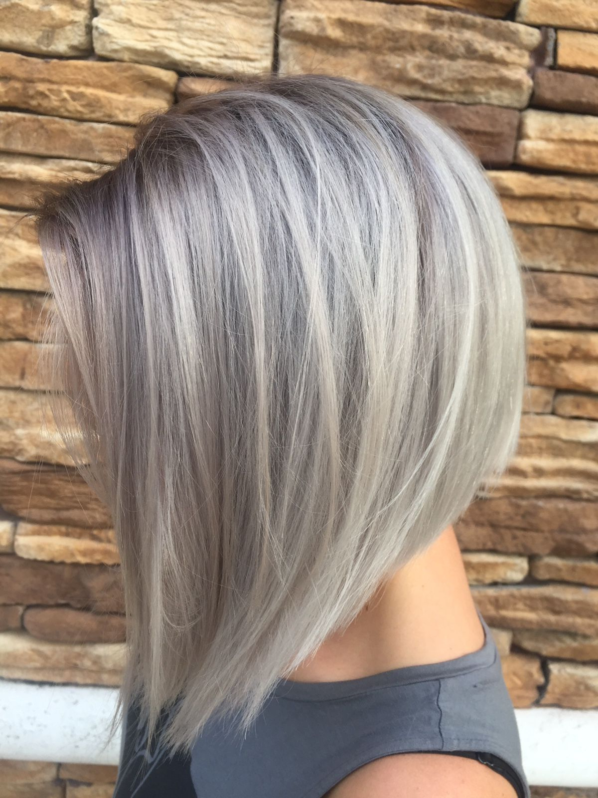 Beautiful Short Bob Hairstyles And Haircuts With Bangs | Female With Side Parted Asymmetrical Gray Bob Hairstyles (View 15 of 20)