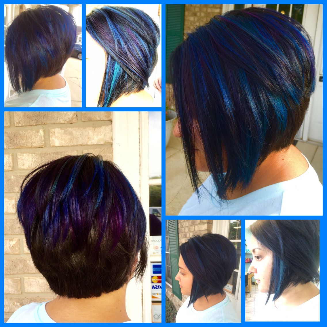 Black Purple Blue Teal Ombré Hair Asymmetrical Bob Haircut (View 14 of 20)