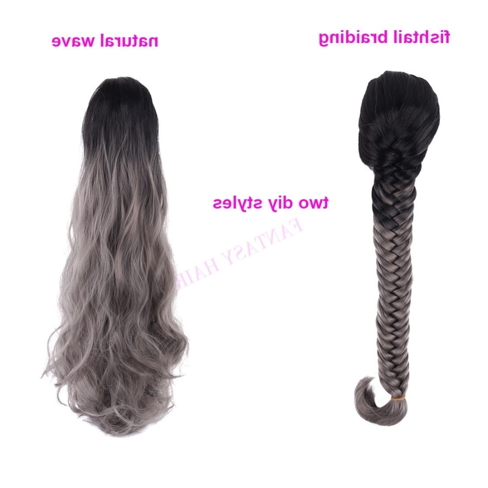 Black To Grey Ombre Color Synthetic Fishtail Braiding Claw Clip Inside Well Known Fishtail Ponytails With Hair Extensions (View 5 of 20)