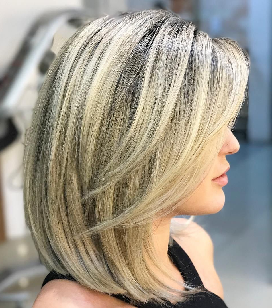 Blonde A Line Lob With Face Framing Layers | Long Hair Trends In Throughout Butter Blonde A Line Bob Hairstyles (View 12 of 20)