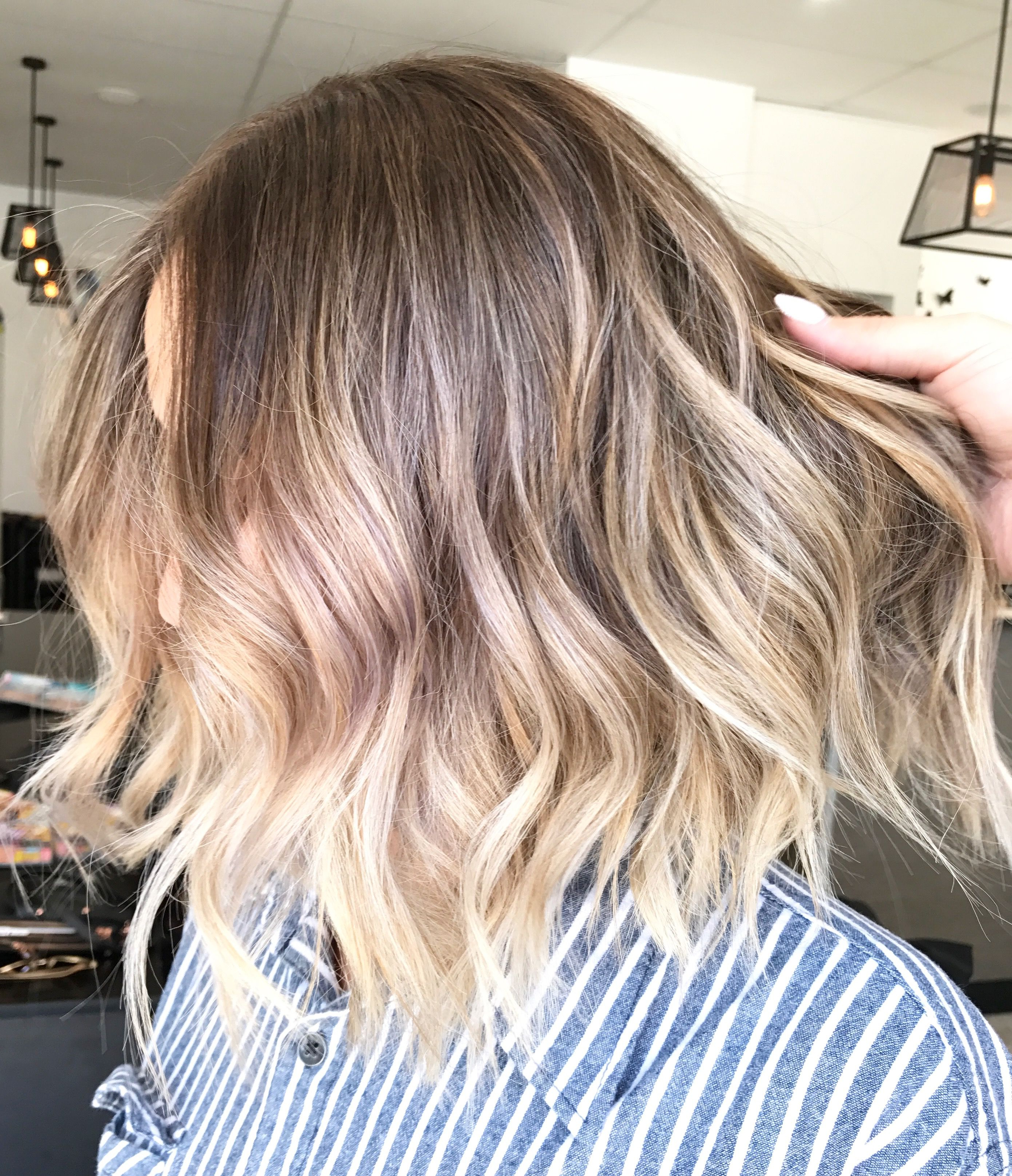 Blonde Balayage Short Lob Multidimensional Colour Lived In Hair For Curly Dark Brown Bob Hairstyles With Partial Balayage (View 6 of 20)