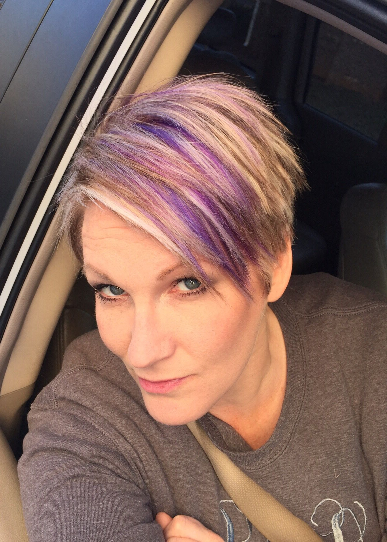 Blonde Pixie Haircut With Purple And Fuchsia Highlights! Spring Is Pertaining To Edgy Purple Tinted Pixie Haircuts (View 15 of 20)