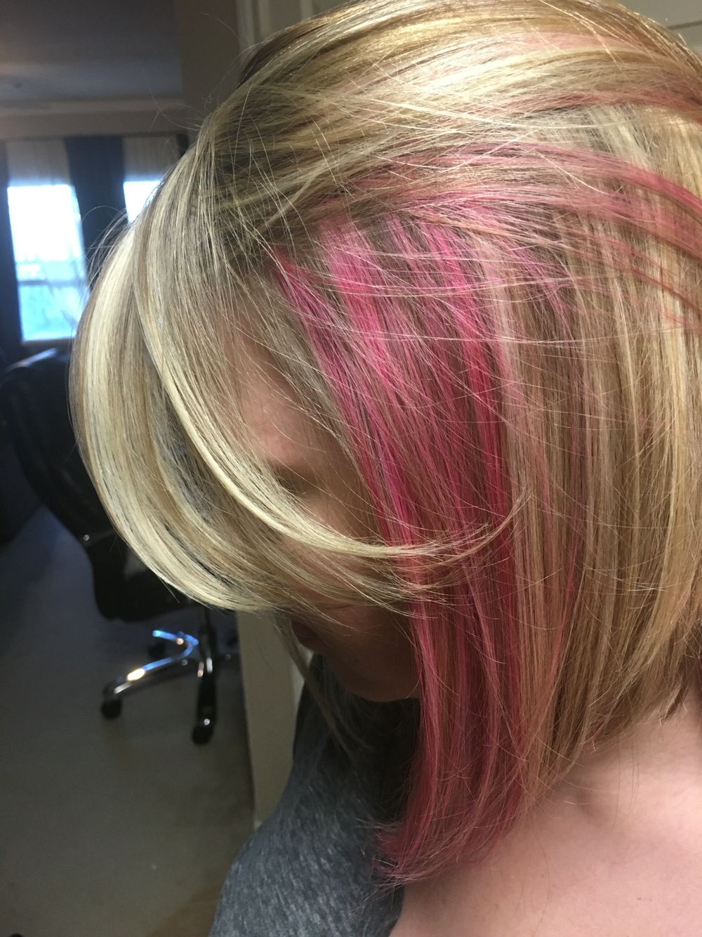 Blonde With Peekaboo Pink | Nails/hair/makeup In 2018 | Pinterest With Extreme Angled Bob Haircuts With Pink Peek A Boos (View 2 of 20)