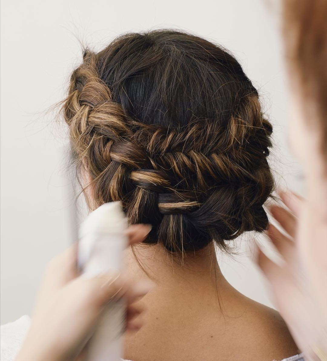 Brides Regarding Most Recent Braid And Bun Ponytail Hairstyles (View 3 of 20)