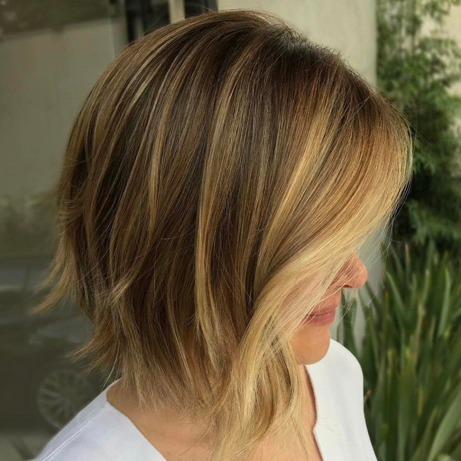 Brown Choppy Bob With Golden Blonde Highlights | Bobs In 2018 Intended For Choppy Golden Blonde Balayage Bob Hairstyles (View 2 of 20)