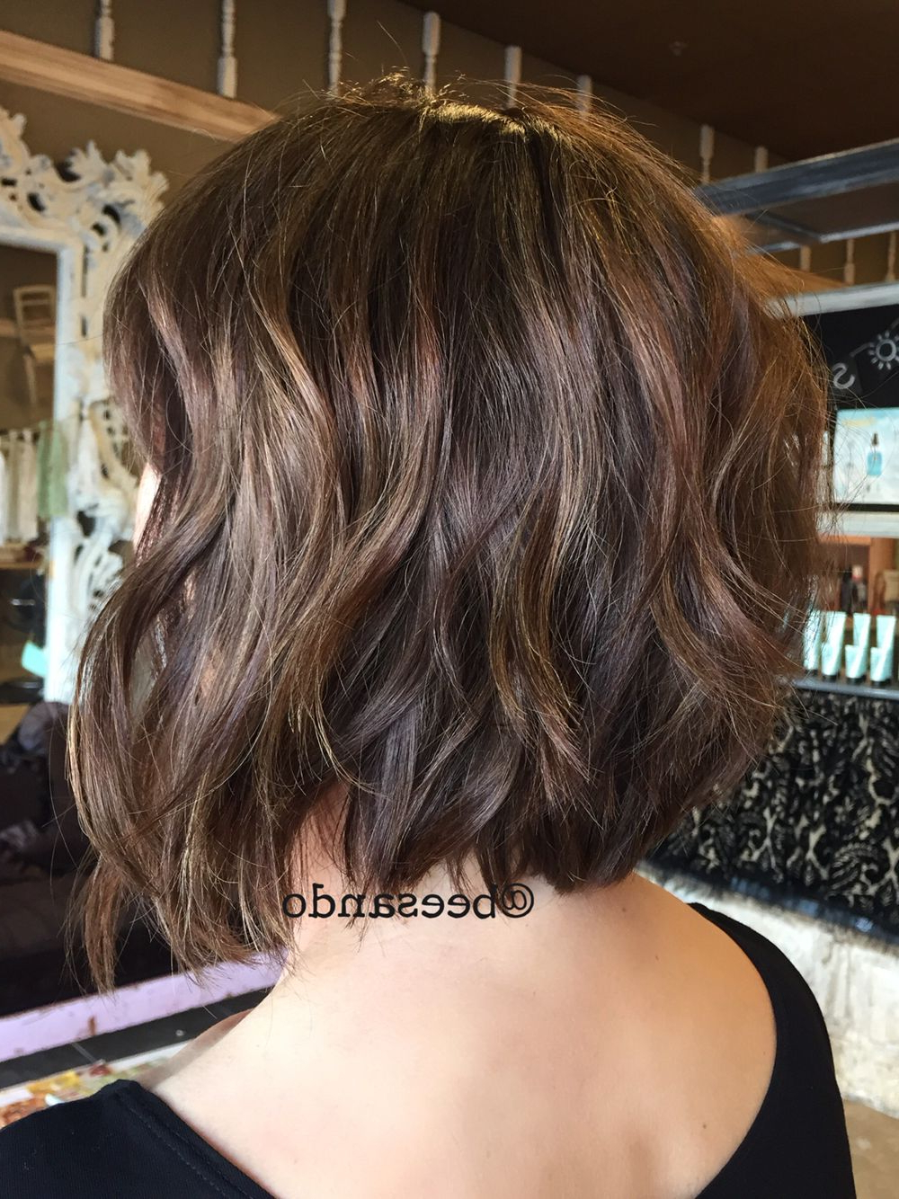 Brunette Balayage Razor Bob | Blondes, Bobs & Balayage | Pinterest In Sexy Tousled Wavy Bob For Brunettes (View 4 of 20)