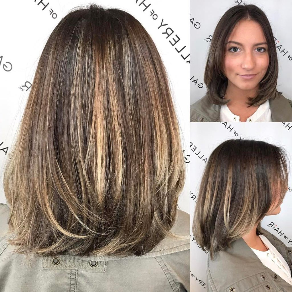 Brunette Layered Blowout Bob With Face Framing Layers And Color Melt Inside Layered Balayage Bob Hairstyles (View 16 of 20)