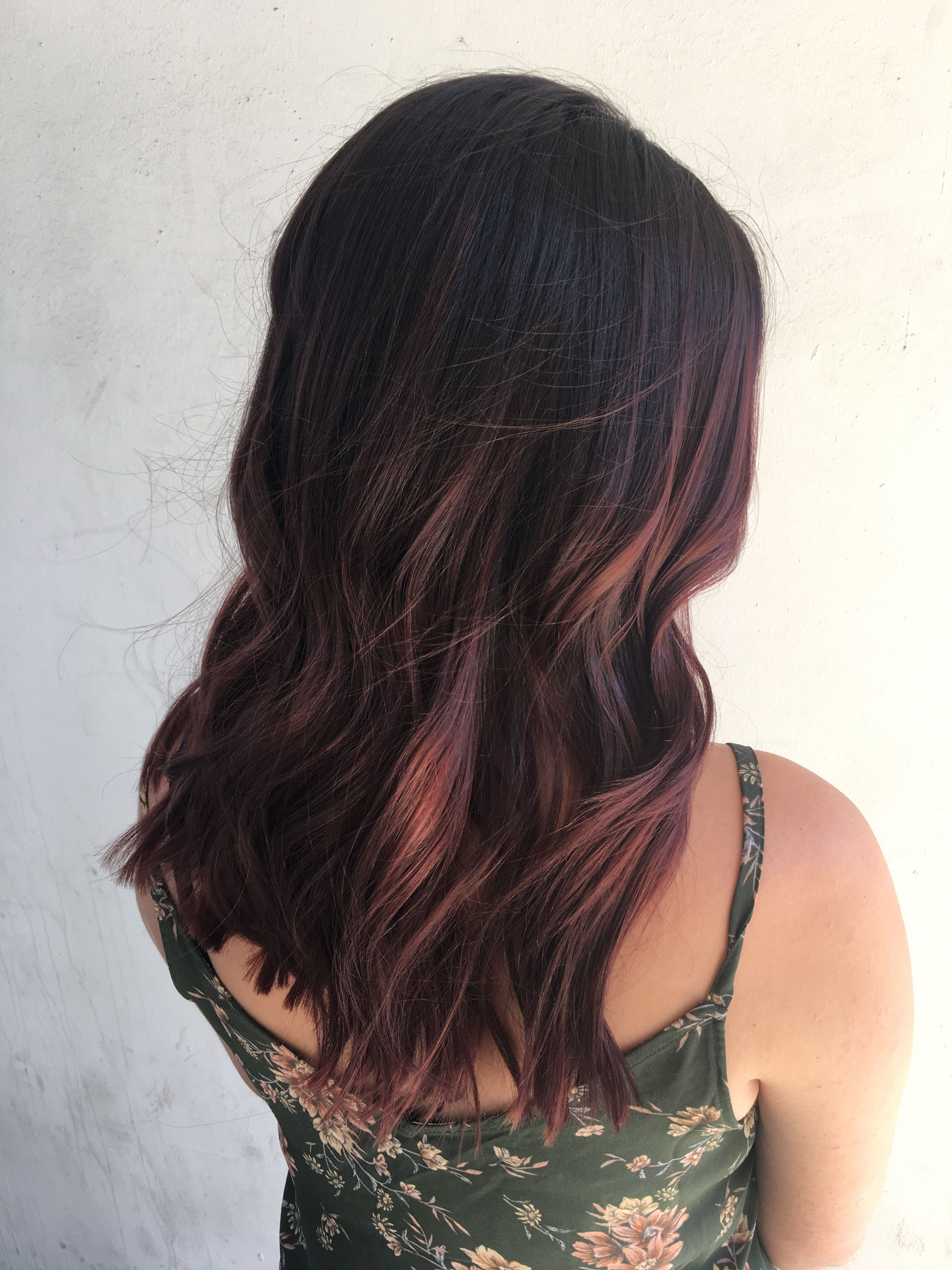Burgundy Hair, Mahogany Hair, Red Balayage Hair, Hair Painting, Dark With Stacked Black Bobhairstyles  With Cherry Balayage (View 12 of 20)