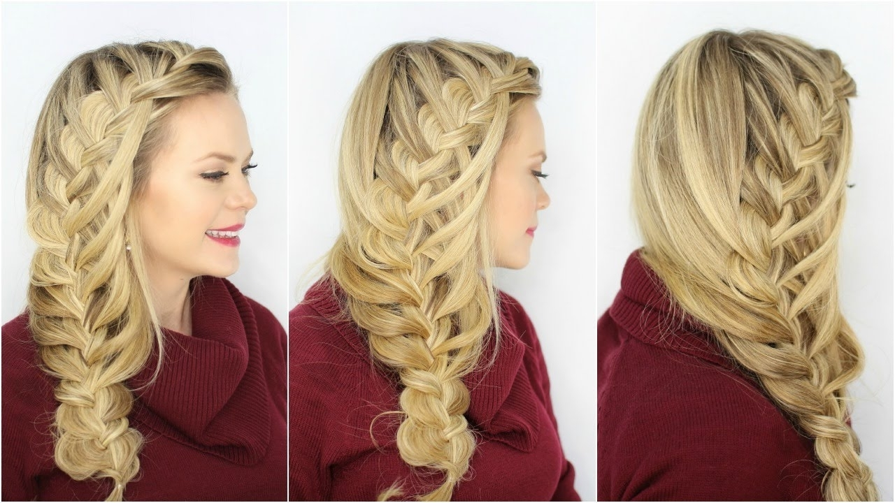 Cascading Waterfall Side Braid – Youtube Throughout Newest Cascading Braided Ponytails (View 7 of 20)