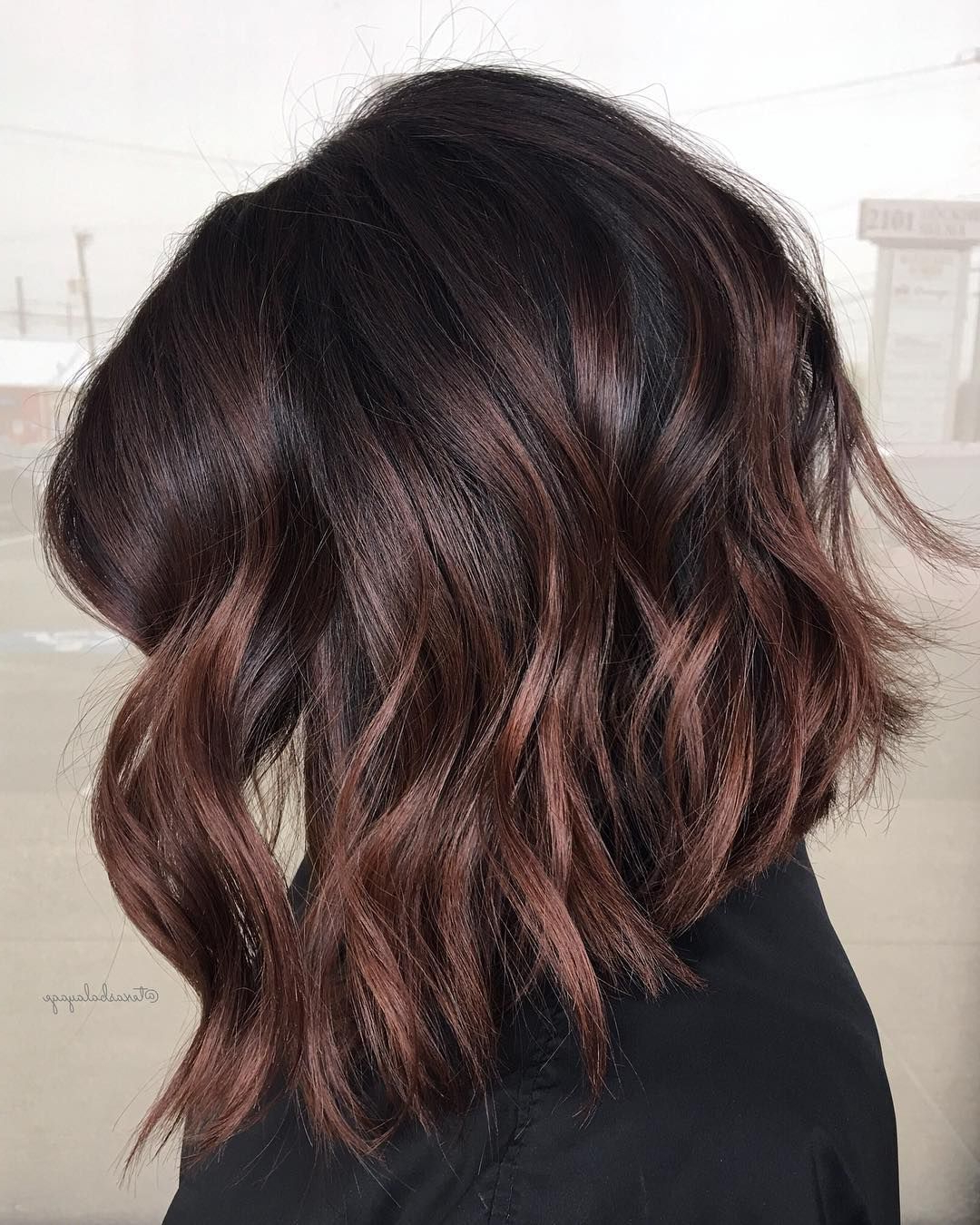 Cherry Chocolate Balayage For Black Hair | Short.short.short (View 2 of 20)