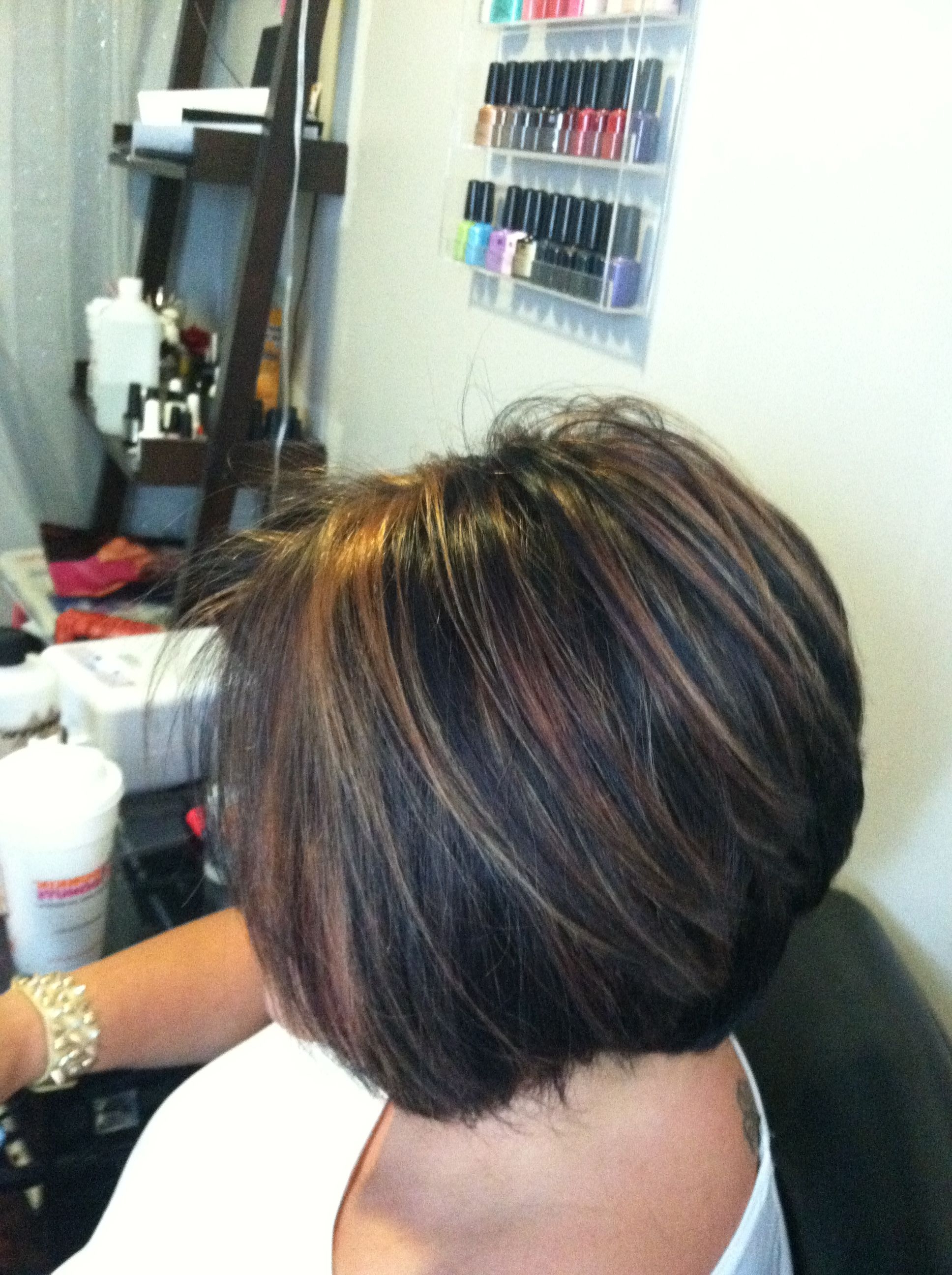 Chunky Caramel Highlights In Dark Hair!!! Short Stacked Bob Love With Short Crop Hairstyles With Colorful Highlights (View 13 of 20)