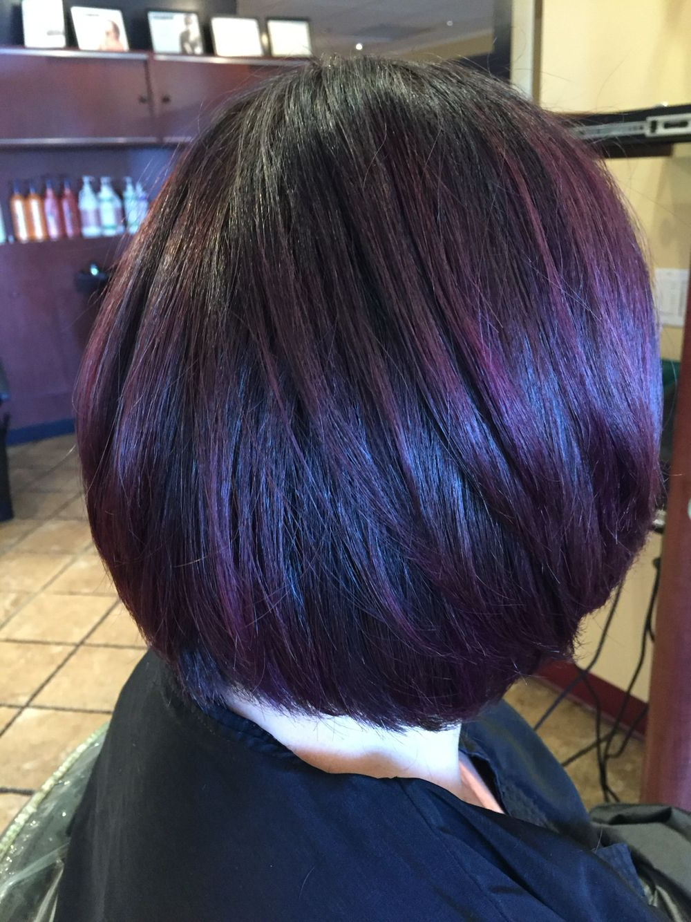 Cool Dark Base With A Smokey Purple Balayage Andrea@profilodayspa Regarding Stacked Black Bobhairstyles  With Cherry Balayage (View 14 of 20)