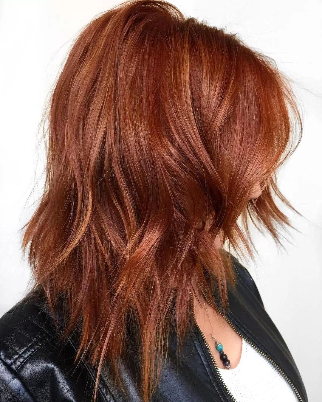 """Copper Hair W Babylights"""" Återskapa Genom Hårfärg Och Sen Bleka Här With Burgundy And Tangerine Piecey Bob Hairstyles (View 6 of 20)"""