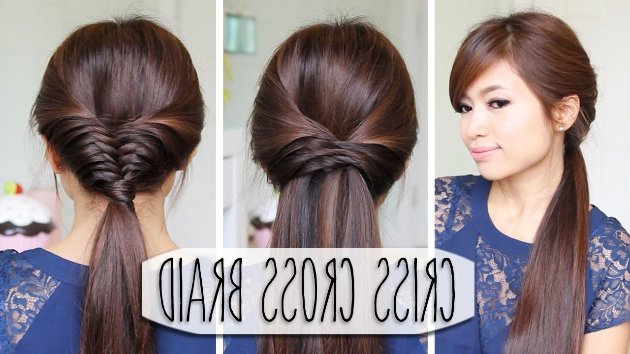 Criss Cross Braid Hair Tutorial (French Fishtail Cheat) Easy Inside Popular Criss Cross Side Ponytails (View 4 of 20)
