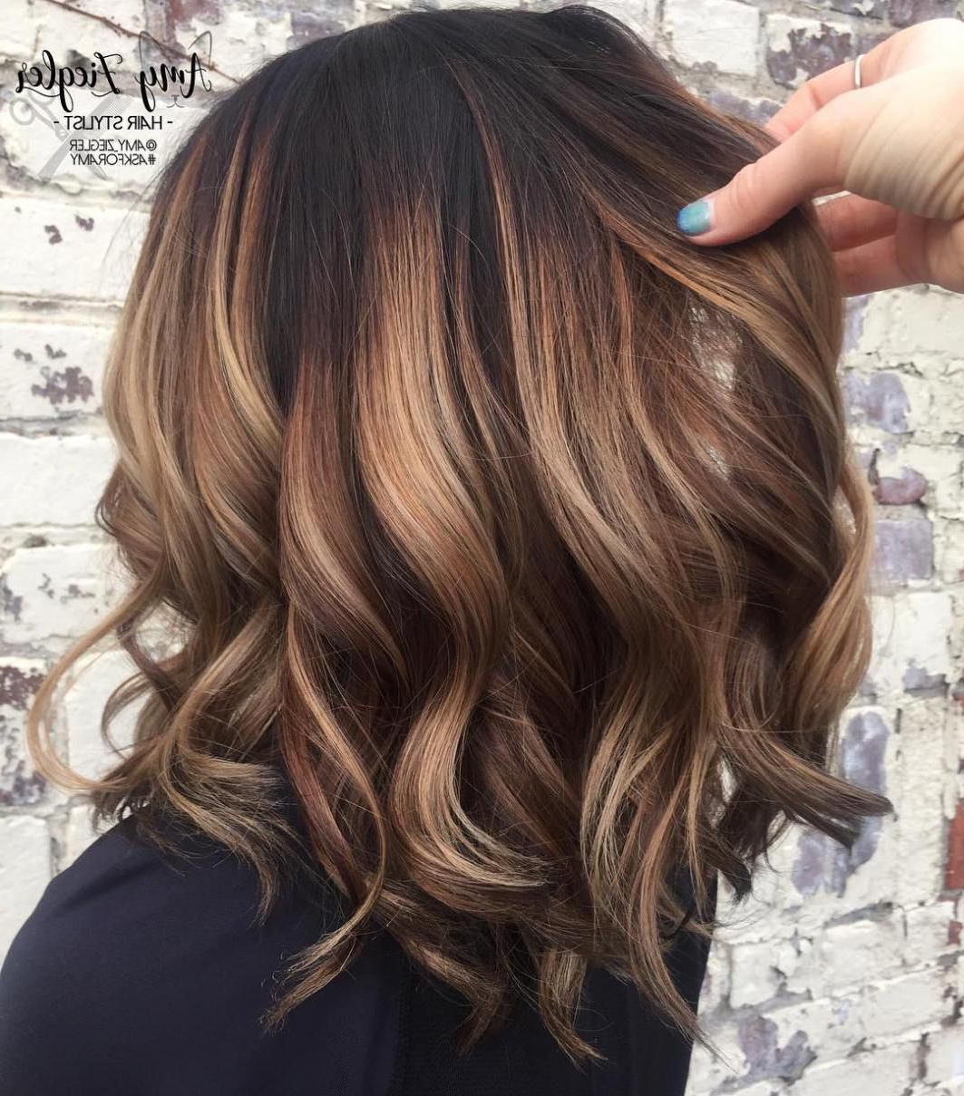 Curly Caramel Balayage Bob | Curly Hair In 2018 | Pinterest | Hair Inside Soft Brown And Caramel Wavy Bob Hairstyles (View 2 of 20)