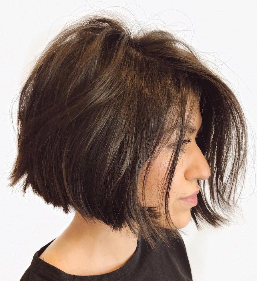 Current Disheveled Brunette Bob | A (View 15 of 20)