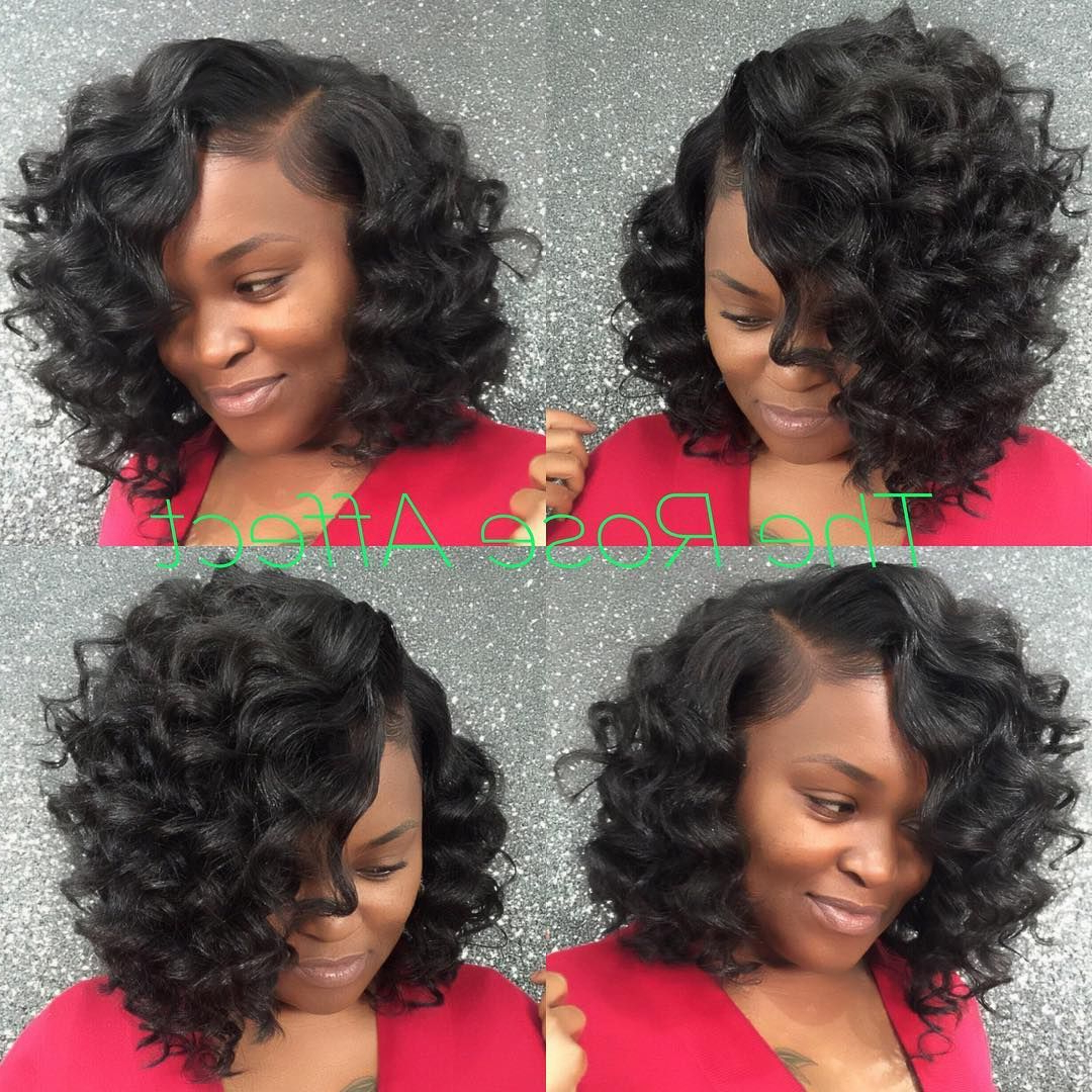 Cute Curly Bob Sew In!! This Is The Rose Affect! Get Prickeda With Regard To Bouncy Curly Black Bob Hairstyles (View 14 of 20)