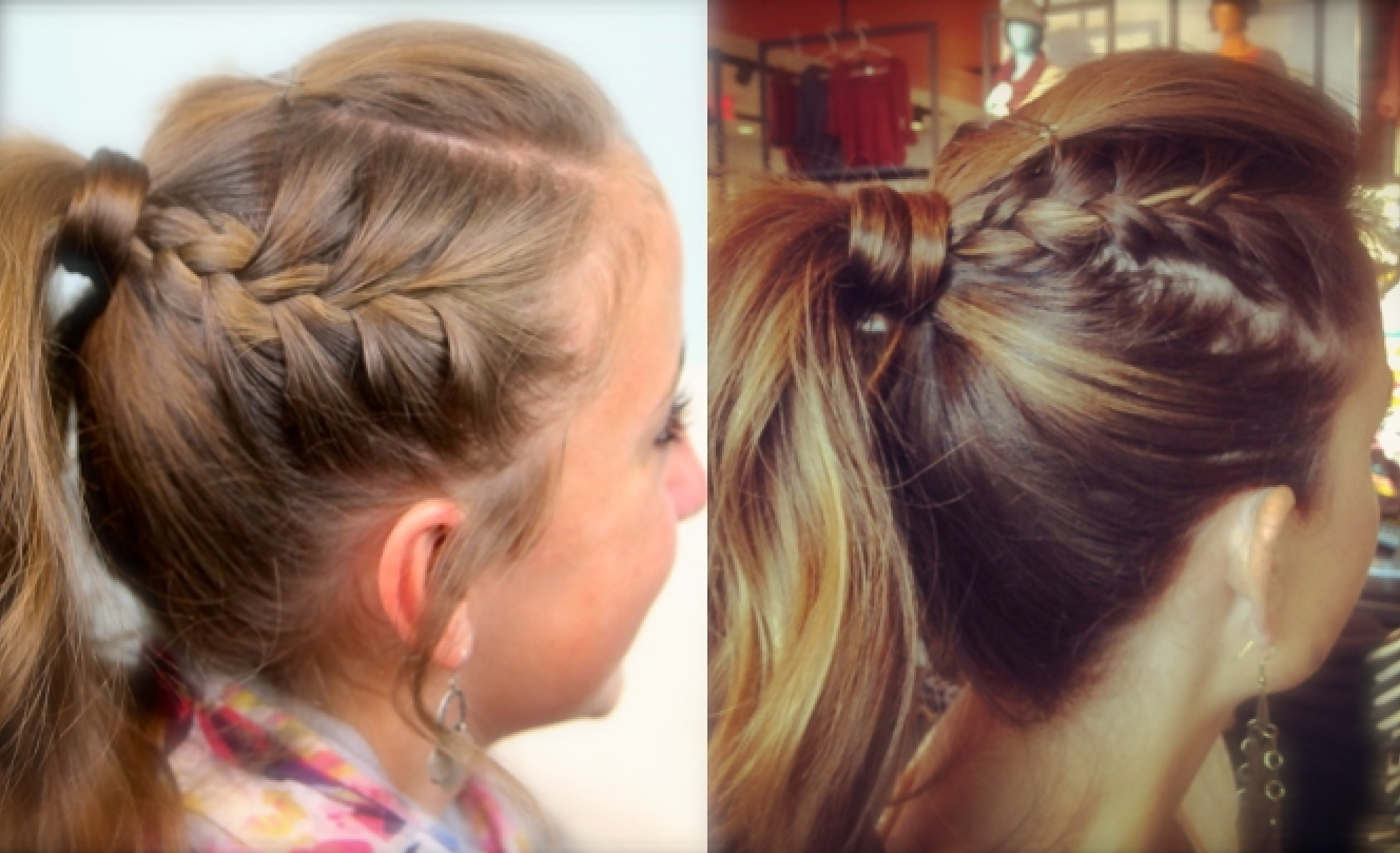 Cute Girls For Most Popular Braid And Bun Ponytail Hairstyles (View 5 of 20)