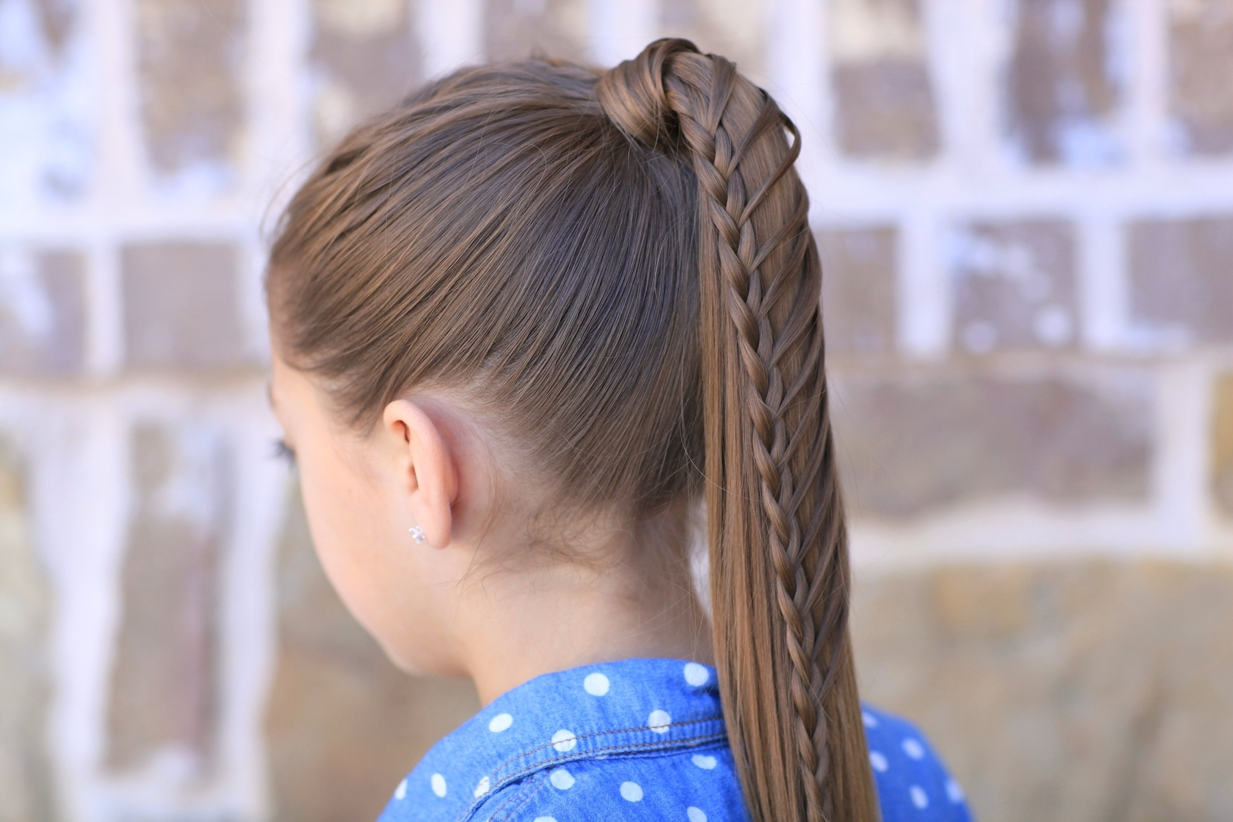 Cute Girls Hairstyles Inside Favorite Diagonally Braided Ponytail Hairstyles (View 17 of 20)