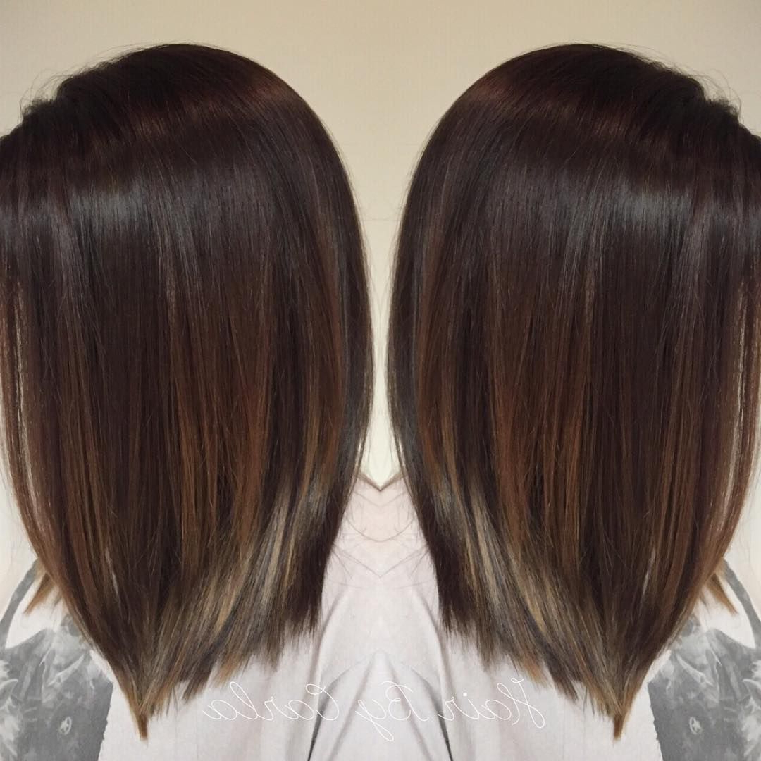 Dark Brown Hair With Subtle Balayage | Hair In 2018 | Pinterest With Regard To Short Stacked Bob Hairstyles With Subtle Balayage (View 15 of 20)